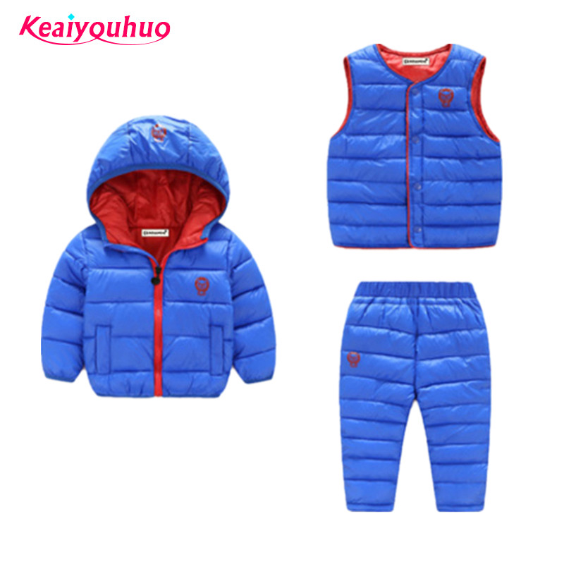 Children Clothing sets 2017 Winter Autumn Toddler Boys Girls clothes warm Coat+vest+pants 3pcs Sport Suits 1-6 yrs kids clothes toddler girls hello kitty clothes set winter thick warm clothes plus velvet coat pants rabbi kids infant sport suits w133