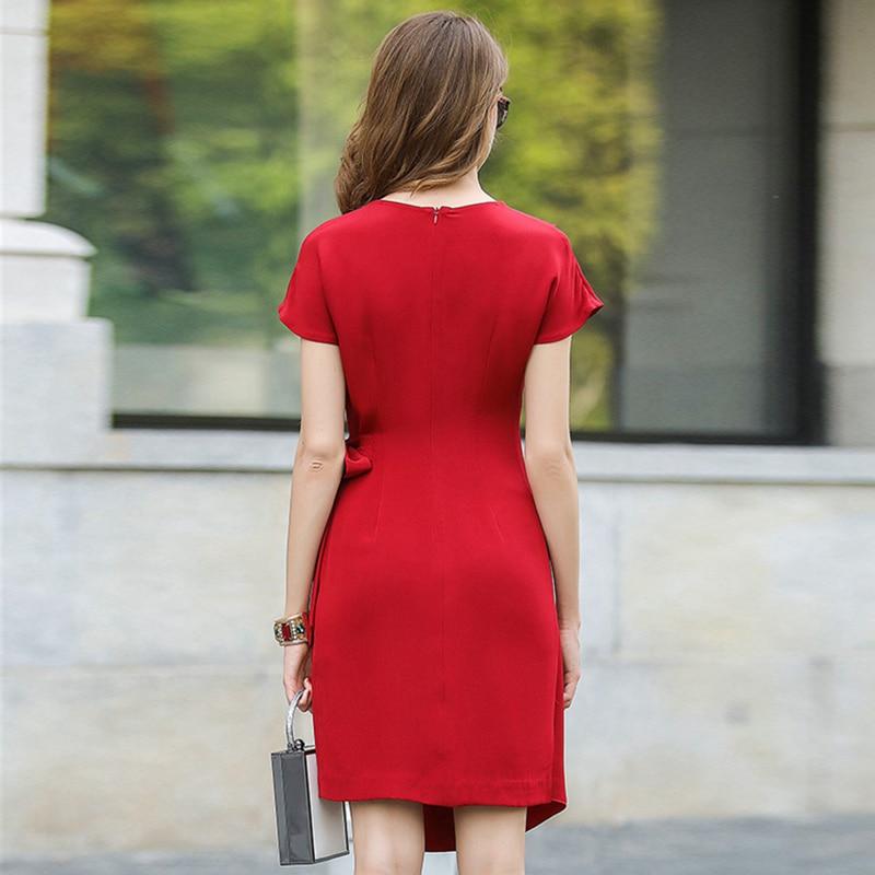 Vestido de seda 100% de alta calidad para mujer diseño asimétrico fajas sólidas tela ligera vestido Casual nuevo estilo de moda 2017-in Vestidos from Ropa de mujer    3