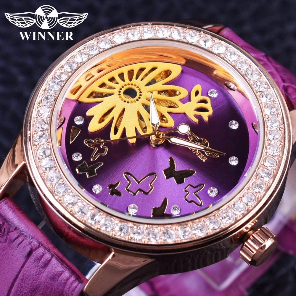 Winner Fashion Dress Purple Band Flower Dial Display Lady Watch Top Brand Luxury Female Wear Mechanical Women Wrist Watch Clock
