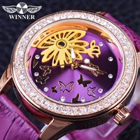 Zwycięzca moda sukienka fioletowy zespół kwiat Dial wyświetlacz zegarek dla kobiet Top marka luksusowa odzież damska mechaniczne kobiety Wrist Watch zegar w Zegarki damskie od Zegarki na