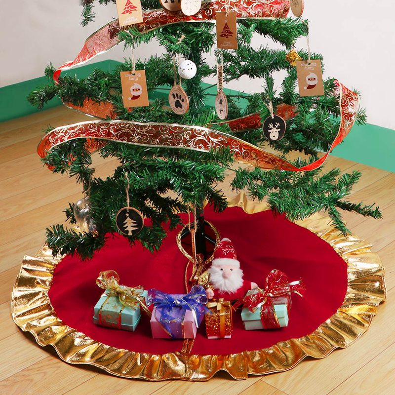 aytai 90cm red christmas tree skirt golden edge gold ruffle bow cover base decoration xmas tree cover decor new year s products in tree skirts from home