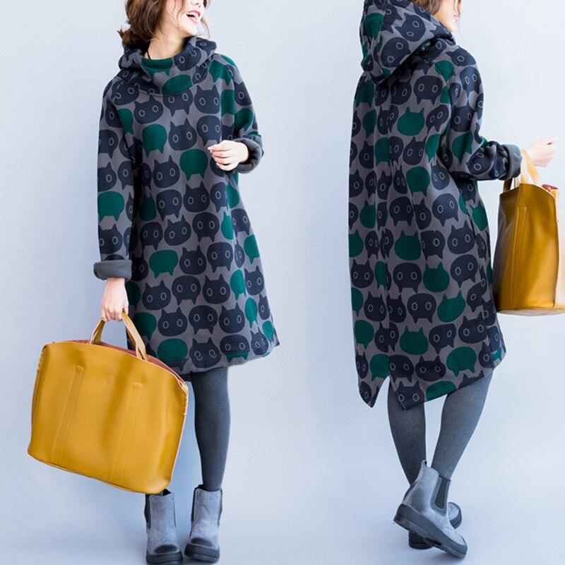 Grande taille 4XL automne hiver femmes mode Kawai chat imprimer hauts dames femme Plus grand chaud épais polaire longue robe sweat-shirt