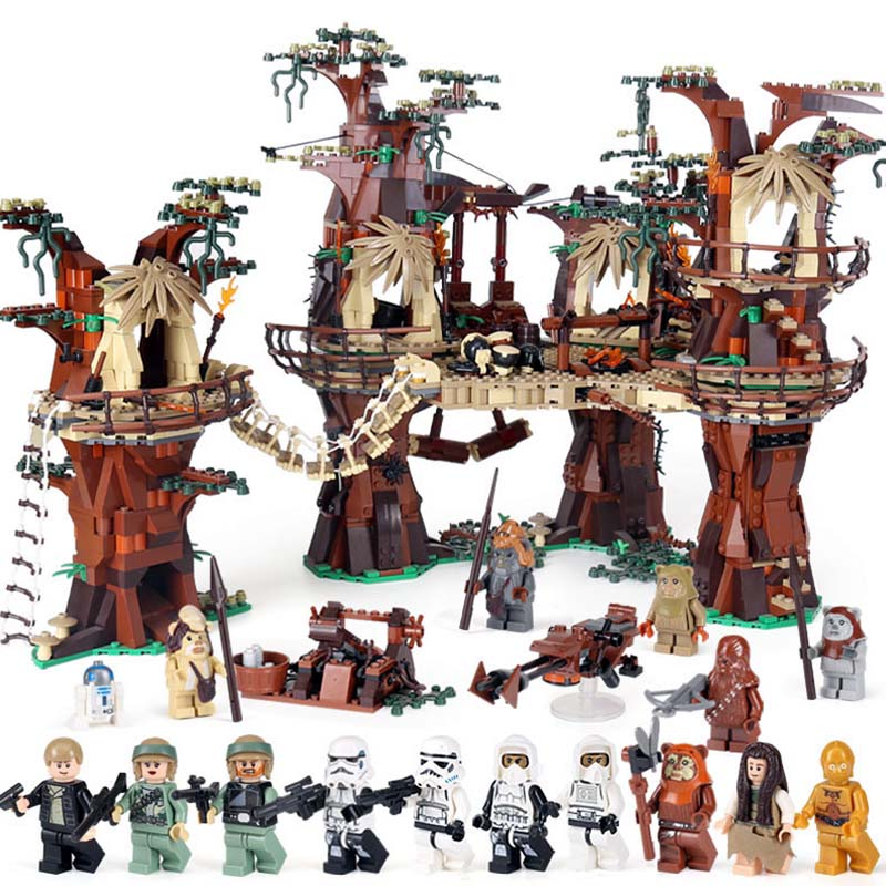 Lepin 05047 Star series plan Ewok Village Educational Building Blocks Bricks Toys For Children Compatible with Lego 10236 new 1685pcs lepin 05036 1685pcs star series tie building fighter educational blocks bricks toys compatible with 75095 wars