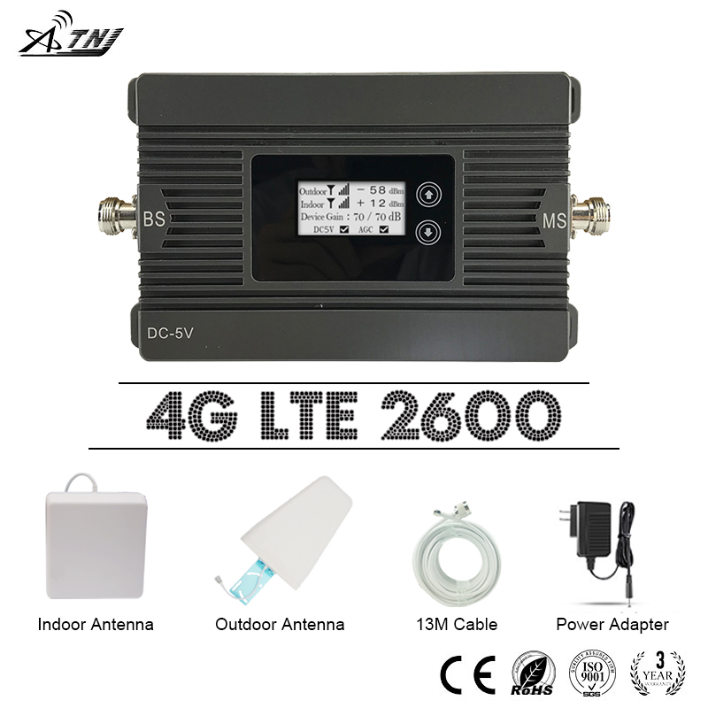 ATNJ Fast 4G LTE 2600 Mobile Signal Repeater 80dB Power Gain 4G LTE Amplifier 4G LTE 2600mhz Cellular Signal Booster LCD Display