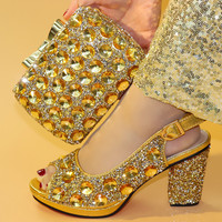Latest Gold Women Shoes and Bag To Match for Parties High Quality Italian Ladies Shoes and Bag Set Decorated with Rhinestone
