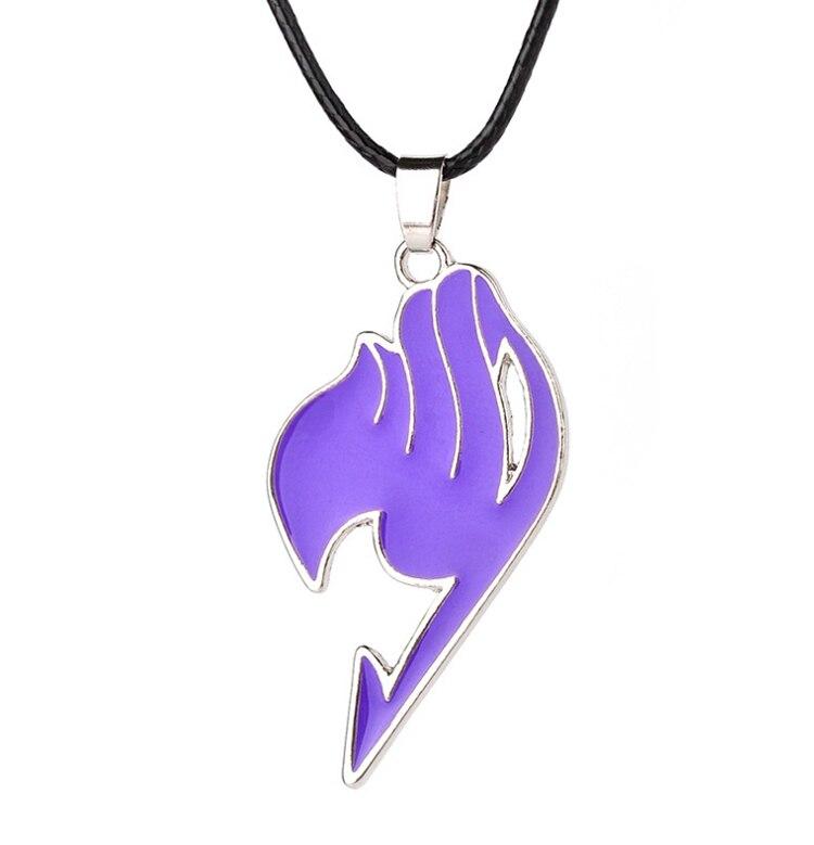 Лидер продаж, 6 цветов, модная подвеска в стиле аниме, сказочный хвост, кожаная веревка колье, ювелирные изделия для мужчин и женщин, подарки - Окраска металла: Purple