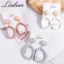 Louleur New Korean Style Irregular Pink White Drop Earrings for Women Girl Cute Resin Statement Party Oorbellen Jewelry