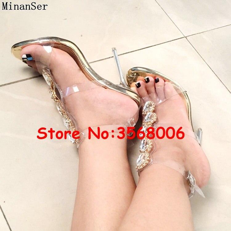 Luxus Marke Offene spitze Mode Stiletto High Heels Schuhe Kristall Verziert T strap Mode Sandalen Schuhe PVC Klar Sexy pumpen-in Hohe Absätze aus Schuhe bei  Gruppe 3