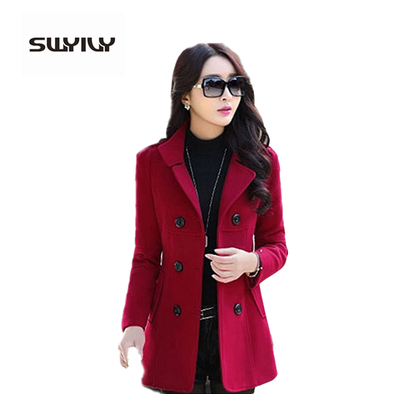 Woolen Coat Female Double Breasted 2017 Autumn And Winter Slim Women Clothing Thick Outerwear Plus Size 3XL Abrigos Mujer
