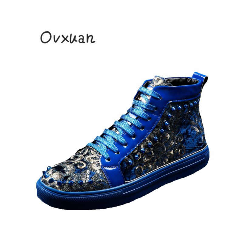OVXUAN 2019 Sequins Embroidered flowers Rivets Men Shoes High Top Sneakers  Metal Buckle Loafers Luxury Male 069db9635f23