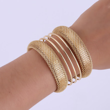 New Europe and America exaggerated bracelet cuffs curved three-dimensional shiny mesh chain wire multi-layer opening