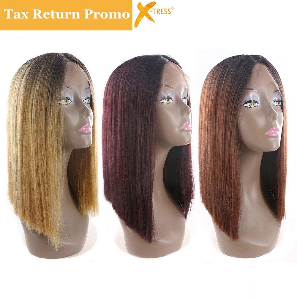 Ombre Schwarz Blonde Rot Farbe Kurzen Bob Spitze Front Synthetische Haar Perücken X-TRESS Yaki Gerade Mittelscheitel Stumpfen Perücken Für frauen