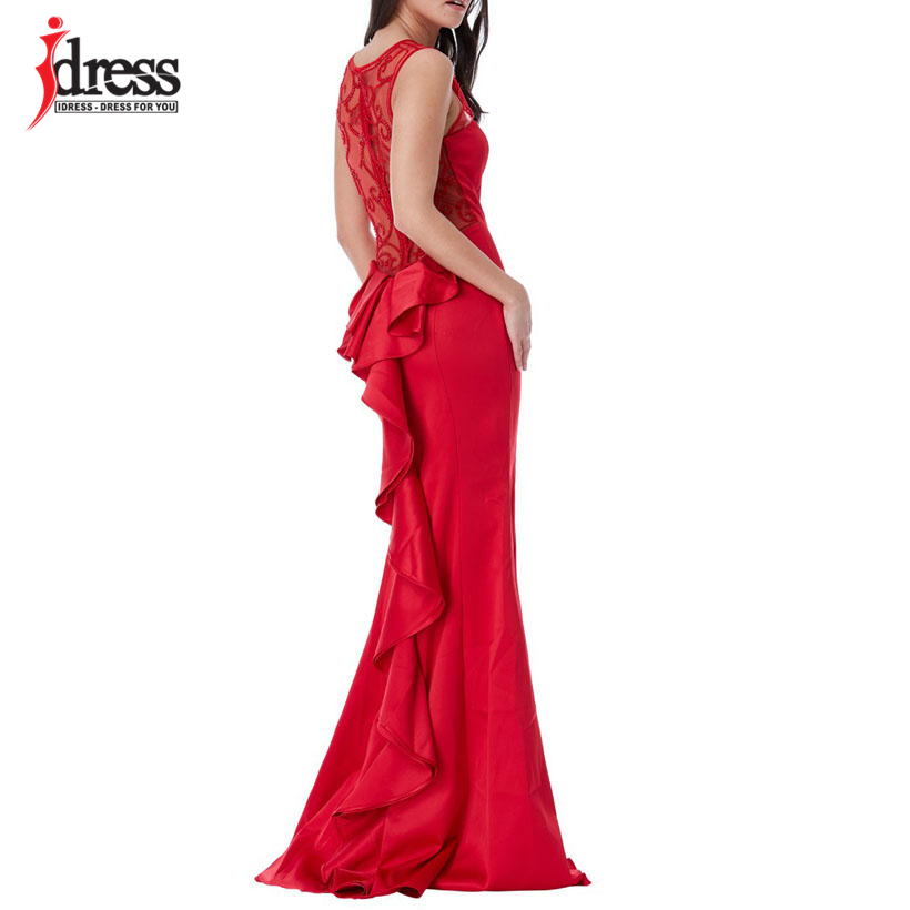 IDress High Quality 2018 Summer Sleeveless Dress Beading Robe Ete Evening Party Long Dress Red Blue Dress Vestidos Maxi Dress (2)