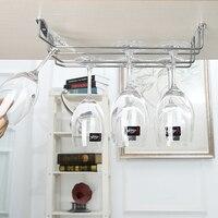 Under Cabinet Wine Glass Stemware Rack Holder Chrome 2 Rails