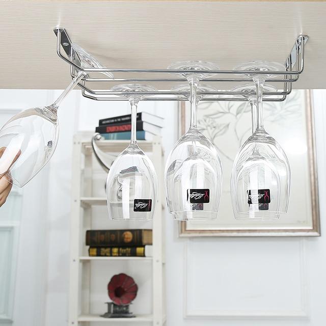 Under Cabinet Wine Glass Stemware Rack Holder, Wine Cup Holder ,Chrome 2  Rails