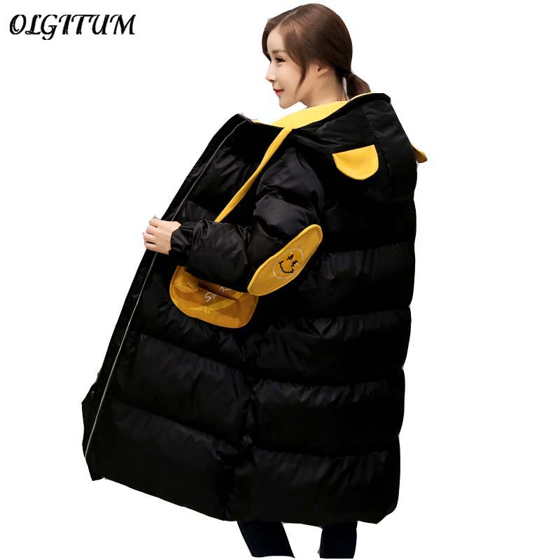 OLGITUM 2017 new fashion women's bear hooded down jacket cotton thickening women's cotton clothing hot sale  olgitum 2017 women vest jackets new fashion thickening solid casual cotton fashion hooded outerwear