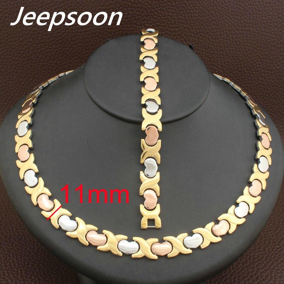 ¡Venta al por mayor! ¡novedad! collar de corazón de 11MM de Metal plateado y dorado de acero inoxidable y conjunto de joyas de pulseras SFKFBBEI