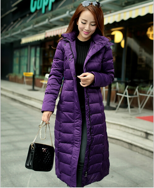 S-2XL Large Size Long Slim Down Jacket Female Genuine Solid Color Winter Coat Over Knee Thicken Women Jackets Overcoat C518 2014 female new fashion waist thicken over knee parkas female long slim down jackets winter coat
