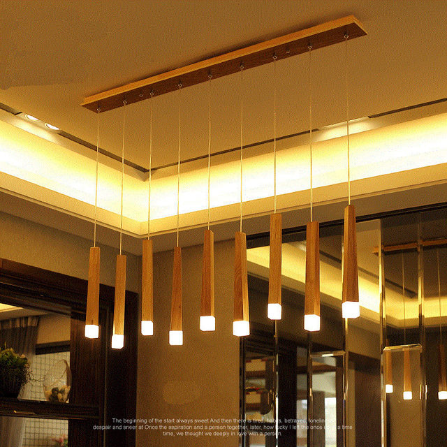 Vintage Hanging Pendant Lights Wood Suspension Lighting Fixtures Modern Res De Led Indoor Home Deco Luminaire Lamps