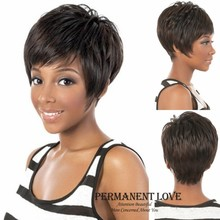 Short Black Wigs Synthetic hair with side bangs female Rihanna pixie cut celebrity hairstyle natural hair wigs for Black Women