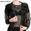 Moet & she das mulheres manga longa jaqueta de organza para a proteção do sol ampla cintura fina casaco curto zipper das mulheres encabeça roupas c67301r