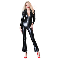 Sexy Lingerie Black PVC Wet Faux Leather Vinyl Bobysuit Jumpsuit Playsuit M XXL x6766