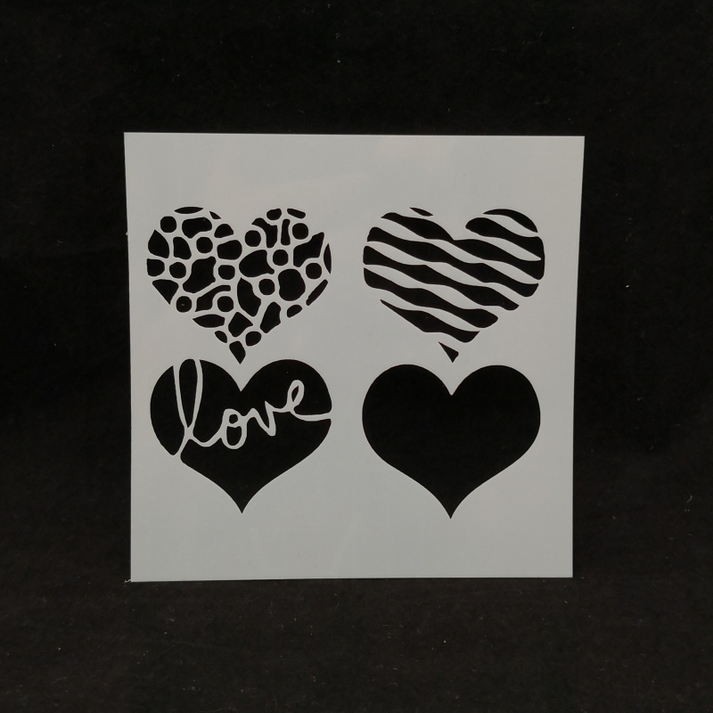 13*13 LOVE Heart Pvc Layering Stencils For Diy Scrapbook Coloring,painting Stencil,home Decor Diy Etc. Product Image