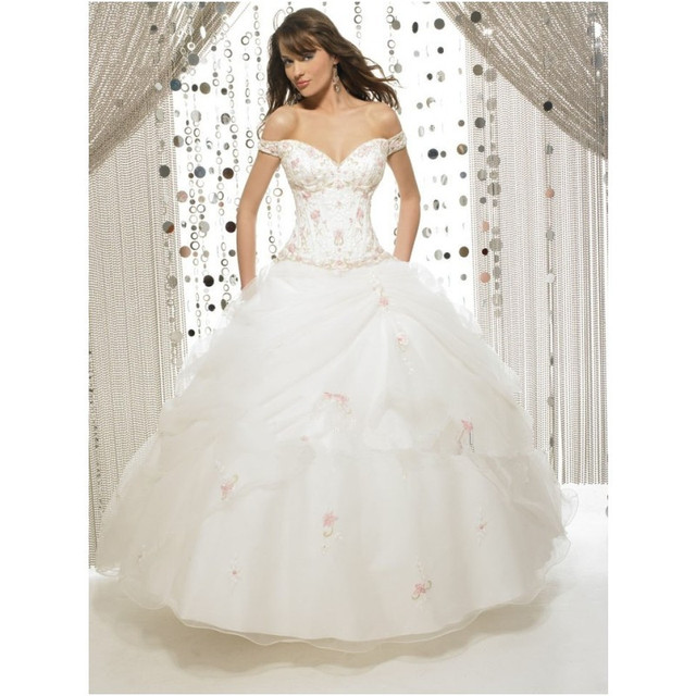 White Long Ball Gown Cap Sleeve Quinceanera Dresses Off Shoulder ...