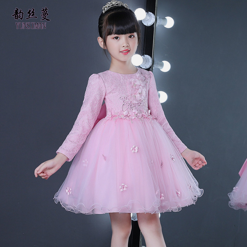 Elegant Kids Party Dress Long Sleeve for Girls 2 4 6 8 10 to 12 Years Cute Kids White Lac Flower Knee Princess Dress Girls 51K4A summer cartoon castle sleeveless girls print dress knee length princess a line dress clothes for kids 6 to 12 years old kids