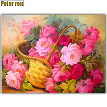 Peter ren DIY Diamond painting cross stitch Crafts Rose baskets 5d round icon full diamond embroidery mosaic Rhinestone