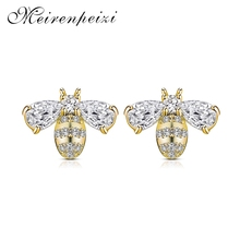 2019 Fashion Trend Ladies Copper Earrings Two Cute Bee Insect Wedding Party Jewelry Adornment High Quality