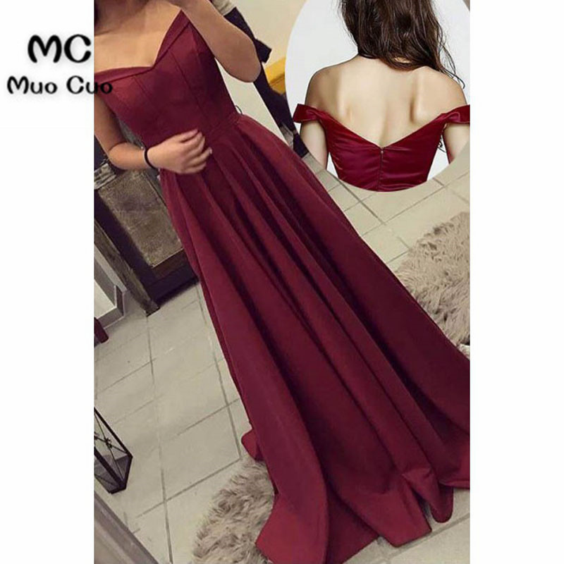 2018 Burgundy Off Shoulder   Evening     Dresses   Long Satin Short Sleeves Prom   dress   for teens Formal   Evening     Dress   for Women