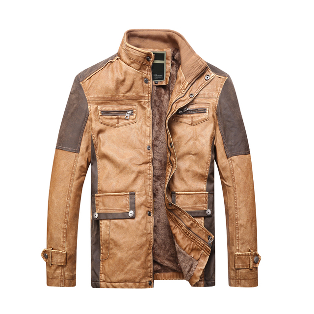 Giacca in pelle beige uomo
