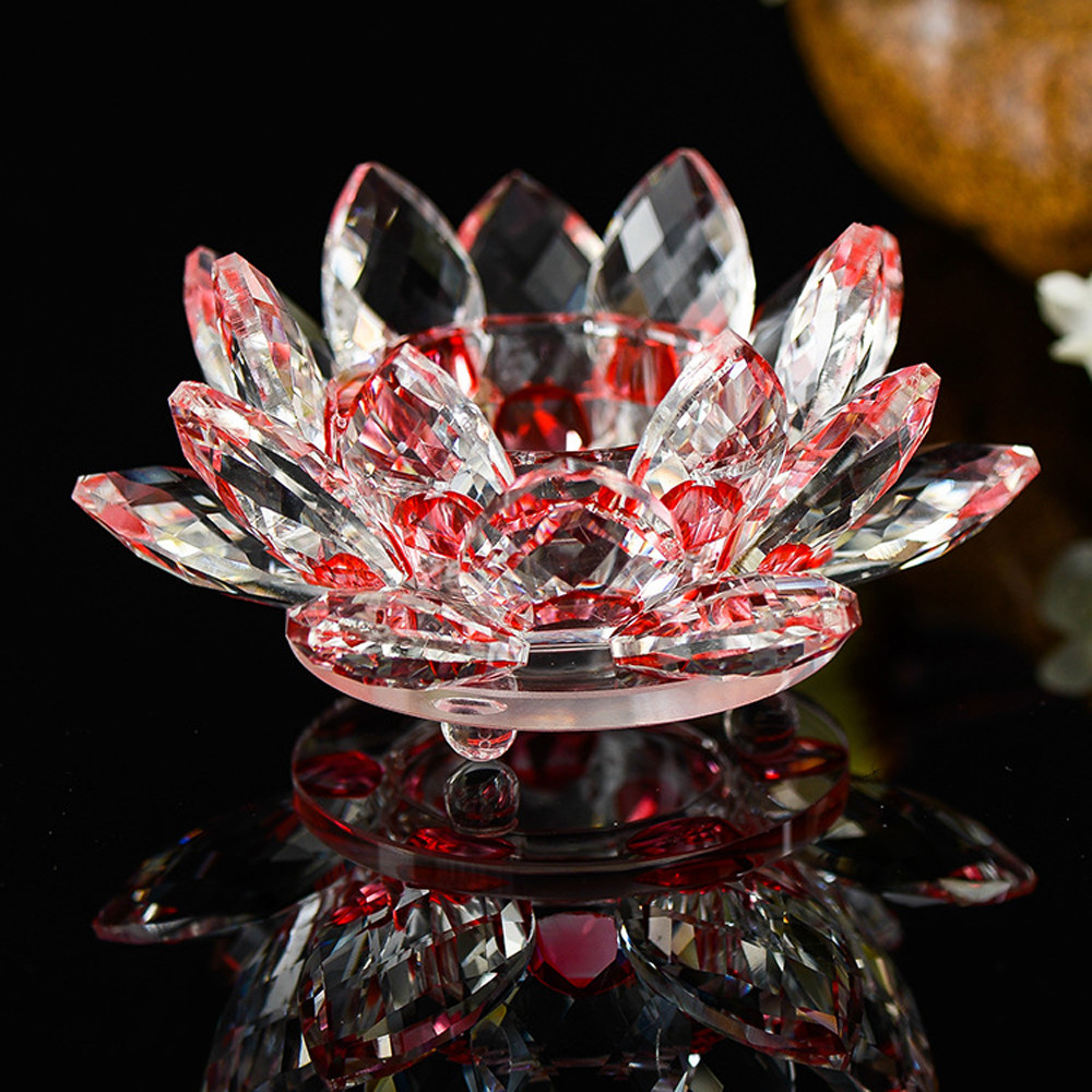 2017 new 7 colors handmade crystal glass lotus flower candle tea 2017 new 7 colors handmade crystal glass lotus flower candle tea light holder buddhist candlestick home decor in figurines miniatures from home garden izmirmasajfo