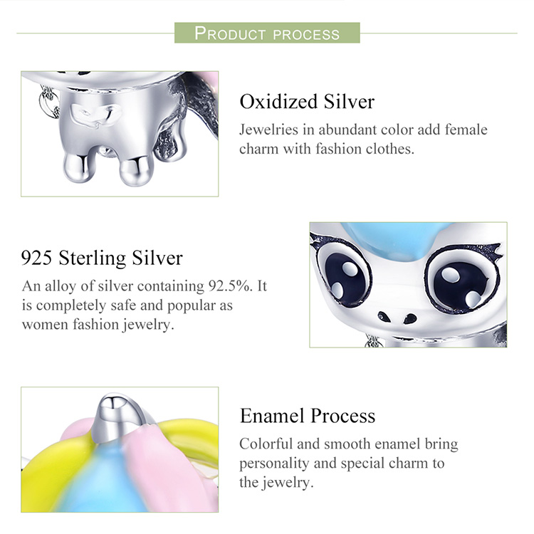 BAMOER New Collection 925 Sterling Silver Colorful Enamel Licorne Beads fit Charms Bracelets & Necklaces DIY Jewelry Gift BSC059