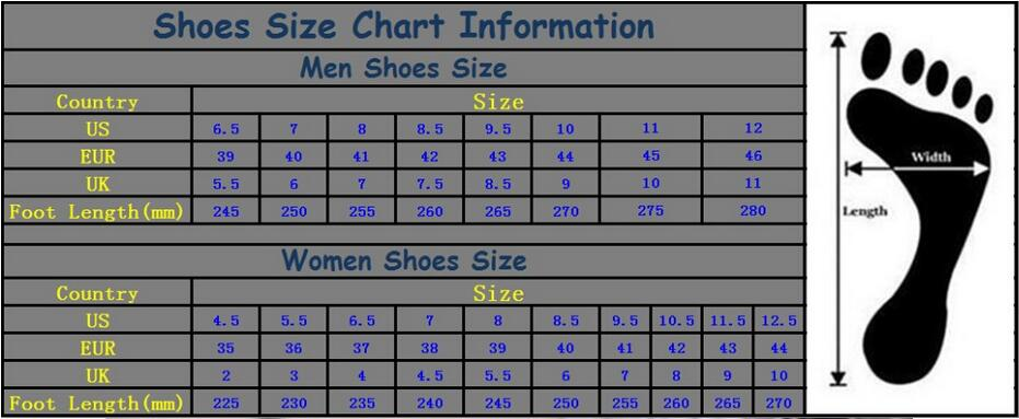 men and women shoes size