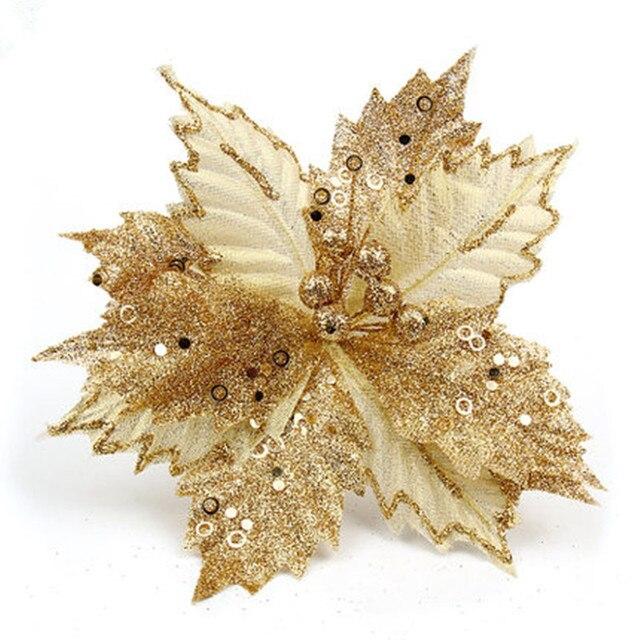 Glitter Grande Fiore Di Natale 8.6 Pollice Poinsettia Fiore Finto Albero Di  Natale 22 Cm Decorazione