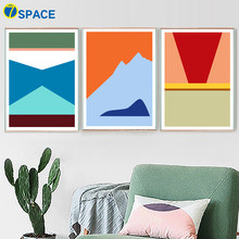Abstract Geometric Mountain Wall Art Canvas Painting Nordic Posters And Prints Landscape Wall Pictures For Living Room Decor(China)