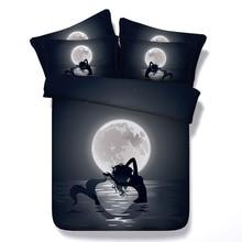 6 Parts Per Set Bed Sheet Set Beautiful Cartoon Mermaid in the Moonlight