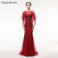 CEEWHY Sexy Long Mermaid Evening Dresses 2018 Real Pictures Beading Tassels Crystal Evening Gown Arabic Robe De Soiree