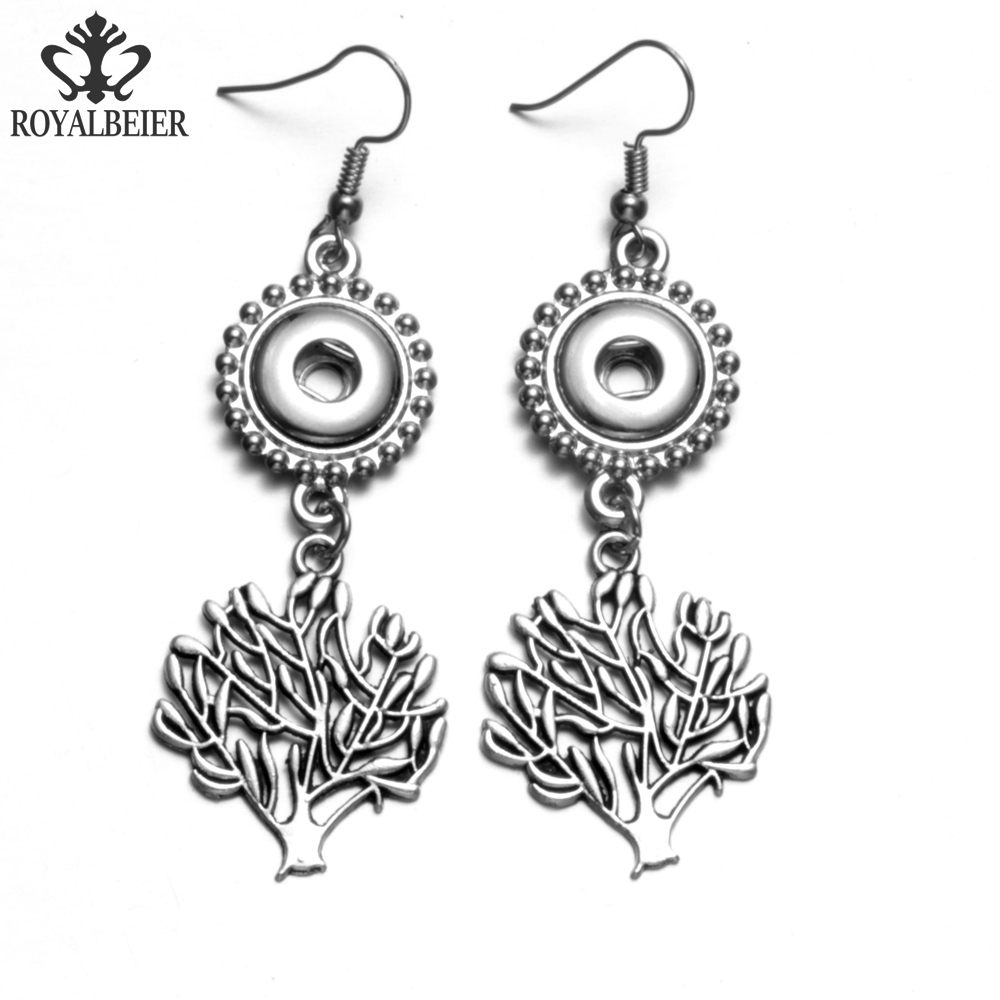 RoyalBeier Tree of Life Drop Earrings For Women 2017 New Vintage Antique Silver Color Carved Fit 12mm Snap Button Drop Earrings image