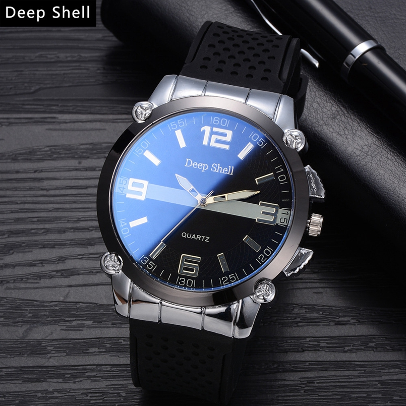 Deepshell New Men Watch Top Brand Luxury Leather Engraved Dial Military Watches Clock Male Erkek Kol Saati Relogios s11