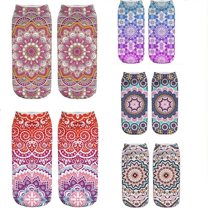 Unique Design Women Socks Mandala Summer Pink 3D Printing Socks Low Cut Ankle Sock Fashion Cozy Cotton Socks