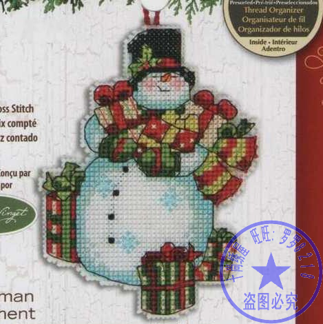 14/16/18/28 Top Quality Lovely Hot Sell Counted Cross Stitch Kit Snowman Jingle Bells Christmas Tree  Ornaments Dim 08896