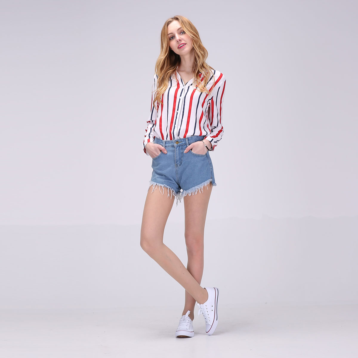 2017 Hot New Women Full Sleeve Blouses Striped Shirts Women Summer Tops Flare Sleeve Blouse Chemise Femme P Size 11