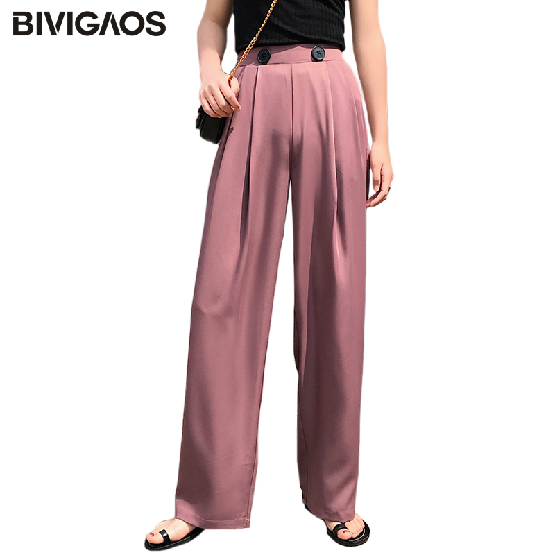BIVIGAOS Summer Fashion Double Button Pleated   Wide     Leg     Pants   Drape High Waist Drooping Loose Casual   Pants   Tide Trousers Women