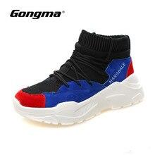 Gongma Sock Sneaker Women Walking Shoes Cool Light Female Sport Blue Sneakers Soft Deodorant Breathable Woman Athletic Shoe 40