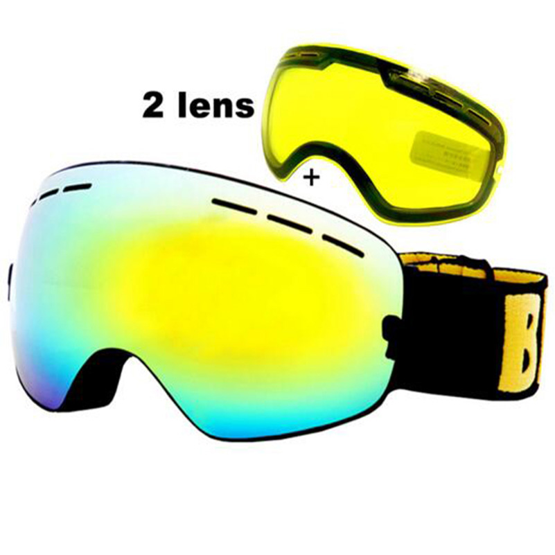 Anti-fog Ski Goggles UV400 Ski Glasses Double Lens Skiing Snowboard Snow Goggles Ski Eyewear With One Brightening Lens
