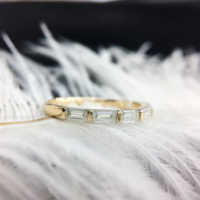 Lab Grown Diamant 0.7ctw Baguette Cut Moissanite Hochzeit band Solide 14 k Gelb Gold DF Farbe Ausgezeichnete Cut Für Frauen