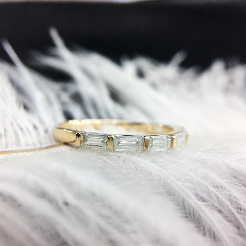 Diamant cultivé en laboratoire, Baguette coupée en laboratoire, bande de mariage, couleur solide, jaune, 14k, or jaune, DF, excellente coupe pour femmes